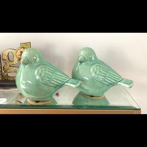 Ceramic mint green birds home decor